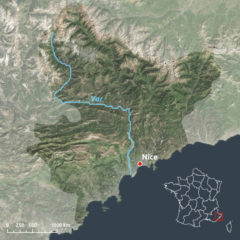 Var river, France - situation plan